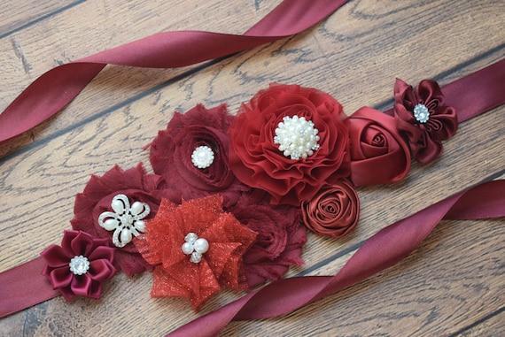 Maternity sash, Flower belt Sash, Burgundy sash , flower girl sash, wedding sash,flower Belt, maternity sash