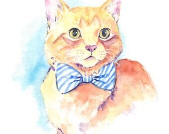 Dapper Cat print - Tabby cat watercolor - cat with bow tie - digital download