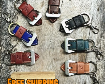 Leather watch strap keychain