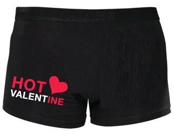 Valentines Boxers Hot Valentine Black Shorty Boxers Christmas Birthday Husband Boyfriend Son