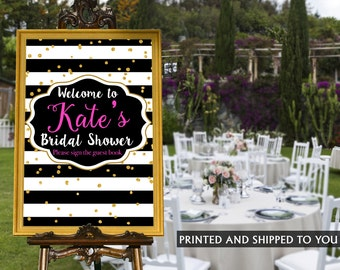 Bridal Shower Welcome Sign - Black and White Stripes Sign - Welcome Sign Graduation, Foam Board Sign, Welcome to the Party Sign