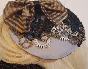 Silver, bronze and lace steampunk fascinator. Victorian burlesque.
