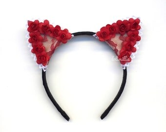 Rouge - Red Floral Cat Ears | Nekomimi