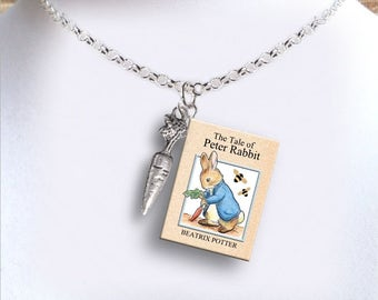 Peter Rabbit with tiny Carrot Charm - Miniature Book Necklace