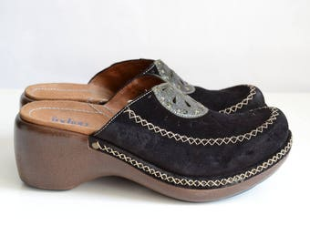 Clarks Indigo Artisan Boho Hippie Black Suede Leather Clogs Womens Size 7
