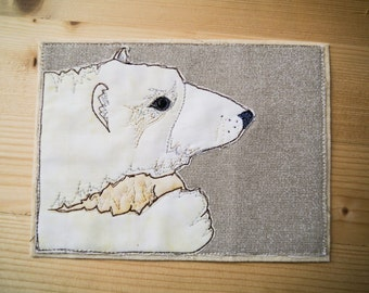 Printed pattern for Pondering Polar bear arctic animal series applique tutorial free motion embroidery