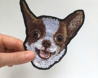 "Chihuahua Pocket Dog Embroidery patch.  The approximate size 10 x 10,5 cm (3.94 x 4.13"")"