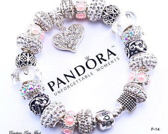 Authentic PANDORA bracelet sterling silver with charms and gift box Pandora