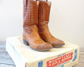 Vintage Tony Lama Cowboy Boots with Original Box, Women's Size 7 or 7.5