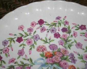 W.S. George Bolera Fiesta Plate / 1950's / Pink and Purple Flowers