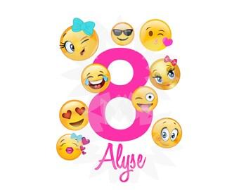 Personalized Emoji, Emoticon, Kissy Face, Emoji Party, Emoji Birthday, T shirt Printable Iron On Transfer Sticker custom Birthday Shirt