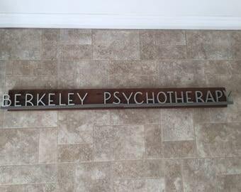 Vintage Mid Century Berkeley Psychotherapy Sign Aluminum Wood MCM Font