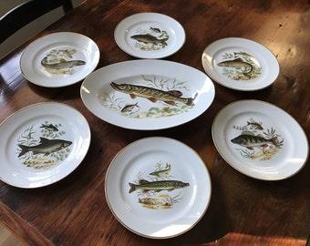 Vintage Naaman 7 Piece Fish Set Israel