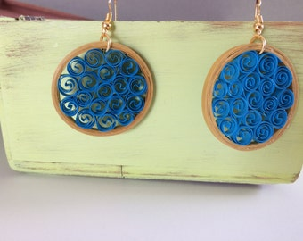 Blue Golden Circle Earrings