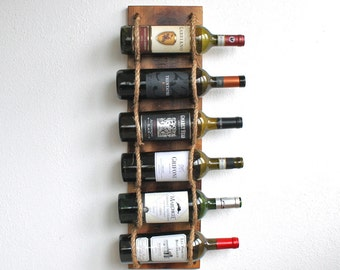 Rustic Wall Wine Rack - Industrial Chic Wood Wine Bottle Holder - Gift For Wine Lover - Housewarming Gift