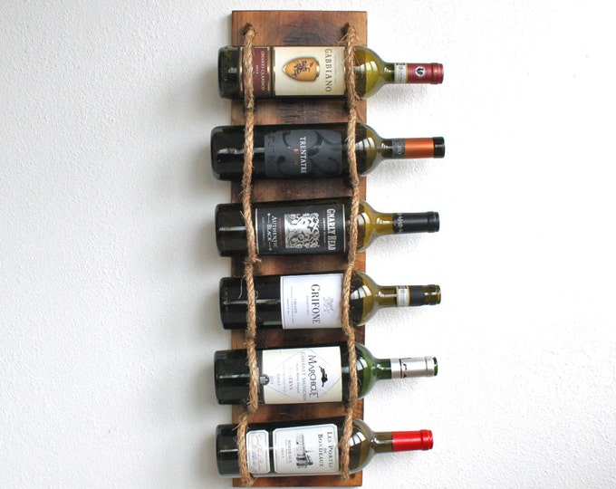Rustic Wall Wine Rack - Wood Wine Bottle Holder - Gift For Wine Lover - Housewarming Gift