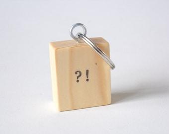 Interrobang Design Square Wooden Keyring Keychain