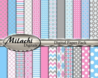 """60% OFF SALE Gray pink blue digital paper pack, 12"""" x 12"""" scrapbook papers, backgrounds - Commercial Use - Instant Download - M257"""