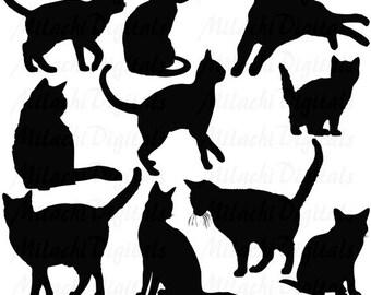 60% OFF SALE Black Cat Silhouette Clip Art Digital Clipart Commercial Use - printable clipart - Instant Download - M256
