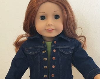 "Denim Jacket, Traditional Gold or White Stitching -  for 18"" American Girl Doll"