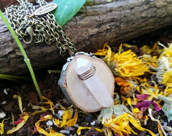 Crystal Essential Oil Diffuser Necklace Made with Locally Sourced, Untreated Wood -- FREE SHIPPING
