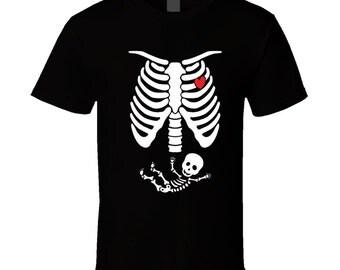 Pregnant Skeleton T Shirt Pregnancy Halloween Costume Maternity Skeleton T Shirts Baby Skeleton Ladies Tee Christmas gift idea