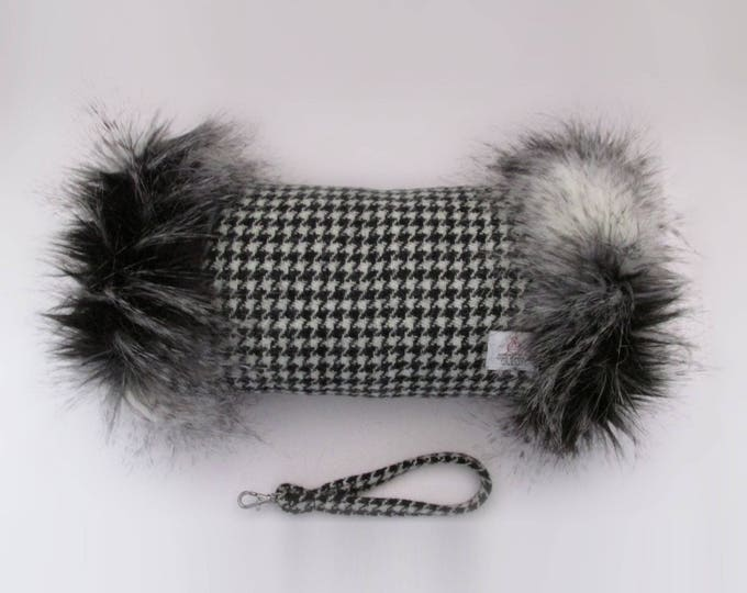 Harris Tweed Houndstooth Hand Muff with Black, Grey & White Faux Fur Trim