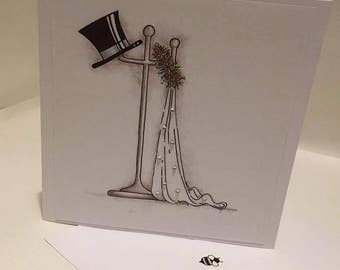 Top Hat and Veil Wedding card