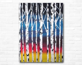 Birch Tree Painting - Abstract - Sunset