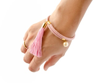 Rope Bangle, Rope Jewelry, Rope Bracelet, Tassel Bracelet, Cuff Bracelet, Cord Bracelet, Bohemian Bracelet, Pearl Bracelet, Charm Bracelet