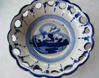 Vintage Hand Painted Blue and White Delft Bowl