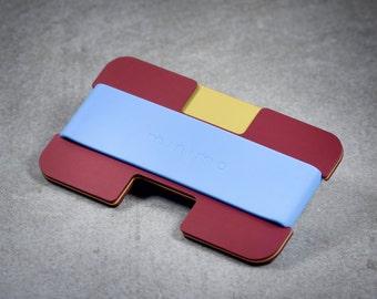 Minimo wallet | red, gold + sky | minimalist, slim wallet, card wallet, travel wallet