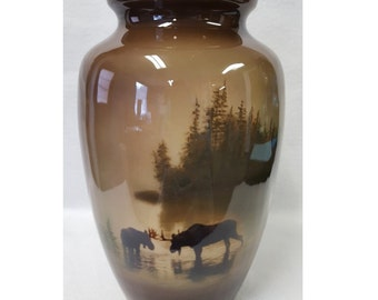 Hand Crafted Moose in the Mist Urn