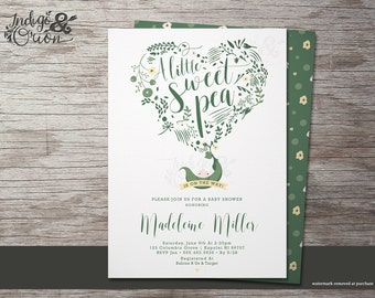 SALE! Sweet pea baby shower invitations, pea in a pod theme baby shower, gender neutral invitation, summer printable, little pea party