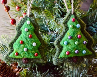 Needle Felted Christmas Tree Ornaments, Set of Two, Felted Wool, Rustic Handmade Decoration, Christmas Tree Decoration