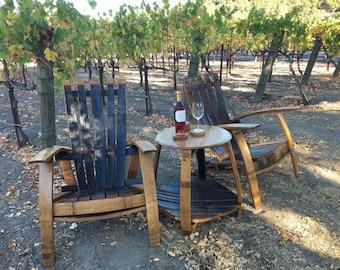 wine barrel adirondack set napa valley wine barrel adirondack craftsman chairs and table indoor outdoor furniture arched napa valley wine barrel table