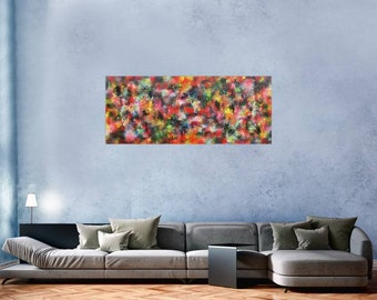 Original abstract artwork on canvas ready to hang 60x150cm #430
