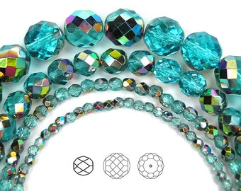 6mm (68pcs) Aqua Vitrail coated, Czech Fire Polished Round Faceted Glass Beads, 16 inch strand