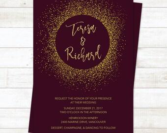 Wine & Gold Letterpress Glitter Fall Wedding Invitation Gold