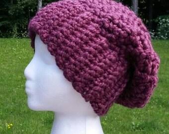 Women's slouchy hat winter hat in plum.