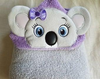 Koala Girl Hooded Bath Towel,Kids Hooded Towel,Personalized Towel,Embroidered Kids Bath Towel,Hooded Kids Towel,Girl's Koala Hooded Towel