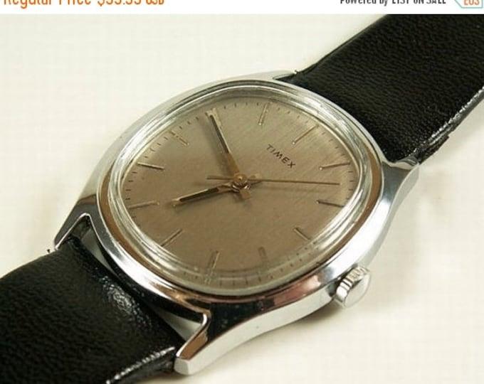 Storewide 25% Off SALE Gentleman's Vintage Timex Silver Tone Quartz Watch Featuring Grey Bezel and Original Textured Black Leather Band