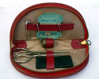 Vintage Sewing Kit in Red Zipped case