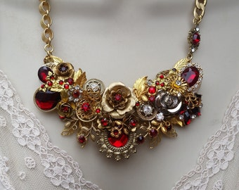 Repurposed Jewelry Assemblage Necklace, Red Jeweled/Gold Statement Necklace, Assemblage Collage Floral Necklace, Rose Necklace, Handmade