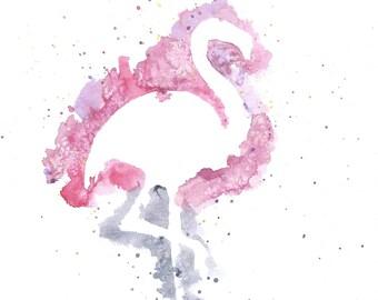 Flamingo Painting, Print of My Original Watercolour Painting, Watercolor Animal Painting, Nursery Art Print, Watercolor Bird Painting