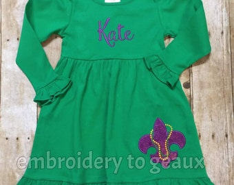 Girls Mardi Gras Dress, Girl's Mardi Gras Outfit, Mardi Gras Fleur de Lis Dress, Mardi Gras Shirts, Girl's Mardi Gras Shirt