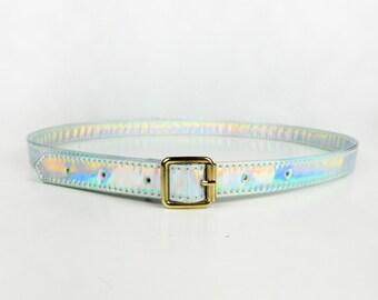 Holographic Belt for Women, Buckle Belt