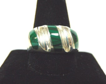 Mens Sterling Silver Ring w/ Malachite 16.6g E903