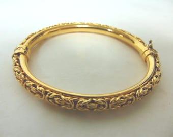 Unique Vintage Estate .925 Sterling Silver Italian Bracelet W/ Gold Tone, 19.6g E3115