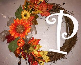 Fall initial wreath
